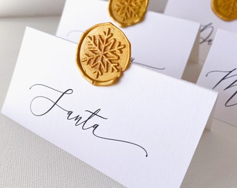 Holiday Place Cards, Snowflake Wax Seal