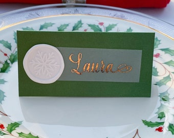 Holiday Place Cards, Shimmer Green