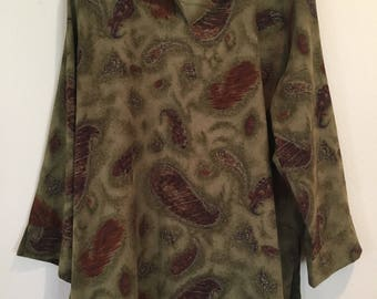 Moss-Green Paisley pattern Tunic