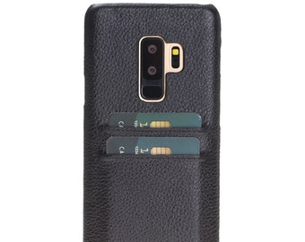 Burkley Case Snap On Case with Credit Card Slots for Samsung Galaxy S9 PLUS | Pebble Black Leather