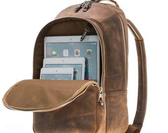 3063c82edc Burkley Case Premium Genuine Leather Backpack in Distressed Antique Coffee
