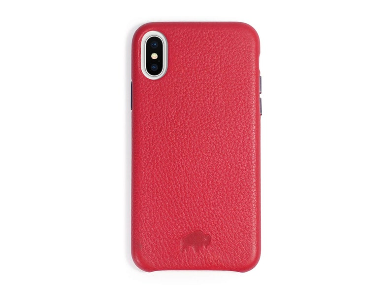 outlet store 13234 e1804 Burkley Case Sturdy Snap-on Case for Apple iPhone X / iPhone XS , Genuine  Handmade Leather Cover in RED - Waterproof