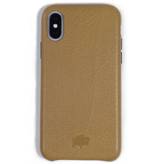 low priced a9ae6 edf2b Burkley Case Sturdy Snap-on Case for Apple iPhone X / iPhone XS , Genuine  Handmade Leather Cover in TAN - Waterproof
