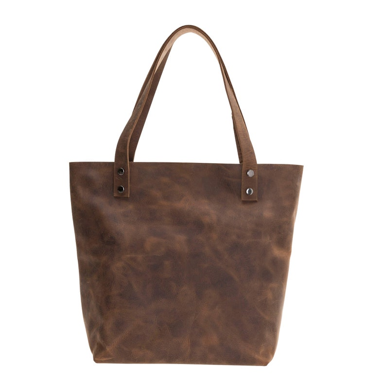 BlackBrook Case Winfry Tote Bag Handmade Full Grain Leather in Distressed Antique Coffee Medium Size