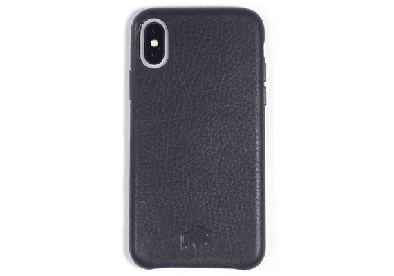hot sale online a5d42 8b07f Burkley Case Sturdy Snap-on Case for Apple iPhone X / iPhone XS , Genuine  Handmade Leather Cover in Black - Grip