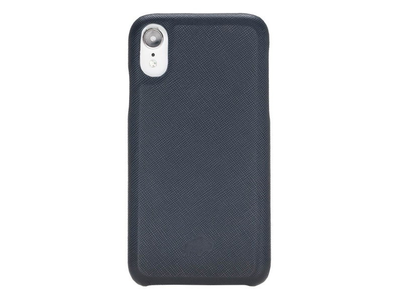 Full Leather Snap-on Back Cover Case for Apple iPhone XR in Saffiano Navy  Blue