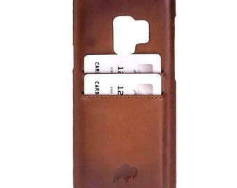 Burkley Case Snap On Case with Credit Card Slots for Samsung Galaxy S9 PLUS | Burnished Tan Leather