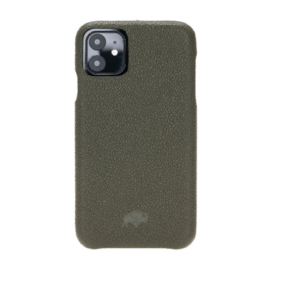6.1 Barlow Full Leather Snap On Back Cover Case in Pebble Green by Burkley Case Apple iPhone 11