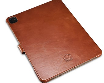 """Turner Smart Leather Folio Cover with Magnetic Flap for Apple iPad Pro 12.9"""" (2020 version) in Brown Leather by BlackBrook Case"""