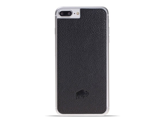 buy popular 24640 89a87 Burkley Case Leather Back Cover for Apple iPhone 8 Plus / iPhone 7 Plus in  Pebble Black