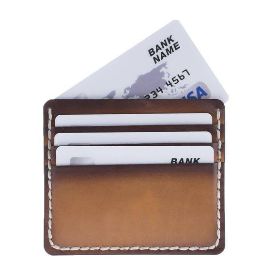 Edition limitée: Tannage végétal, peint à la main le titulaire de carte de crédit en bronze patiné