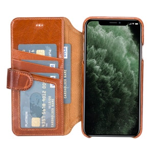 6.5 Carter Magnetic Detachable Full Grain Leather Wallet Case for Apple iPhone 11 Pro MAX in Burnished Tan by Burkley Case