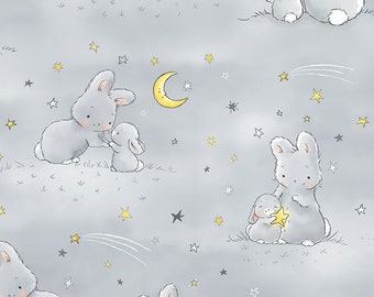 bae8159e8aa Bunny Fabric, Bunnies and Little Ones with Moons, Fabric by The Yard,  Nursery, Baby, Stars, Moons, Animal, Quilting Cotton, TheFabricEdge
