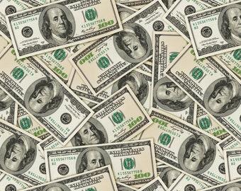 PINK GLITTER MONEY ONE HUNDRED DOLLAR PATTERN STRETCH SPANDEX FABRIC THE YARD