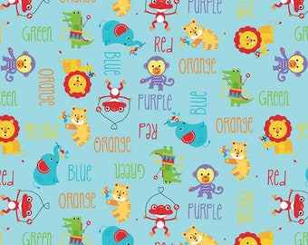 Preschool Fabric, By The Yard, Fisher-Price Main, Aqua, Riley Blake Fabric, C9760-AQUA, Quilting Cotton, BTY, TheFabricEdge