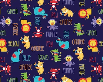 Preschool Fabric, By The Yard, Fisher-Price Main, Animal Fabric, Blue, Riley Blake Fabric, C9760-NAVY, Quilting Cotton, BTY, TheFabricEdge
