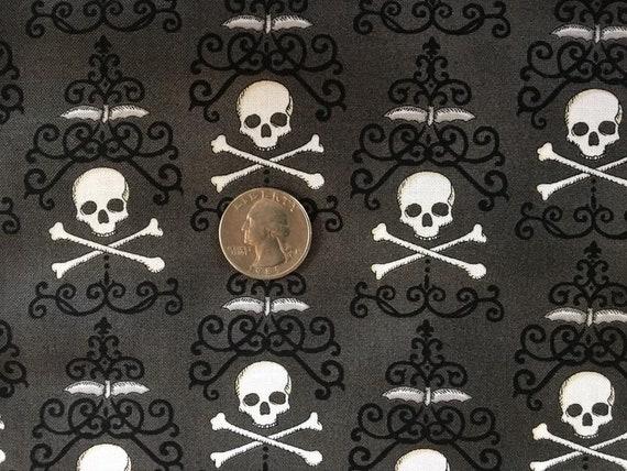 Black TheFabricEdge By The Yard Danger Damask Moda Halloween Skull Fabric
