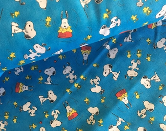 Snoopy Fabric, Hap is Peanuts, Blue, Charlie Brown, By The Yard,  TheFabricEdge