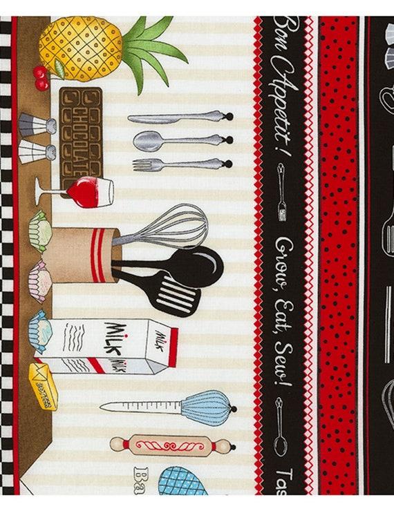 Food Baking Supplies Kitchen Cream Row by Row Fabric Timeless Treasures YARD