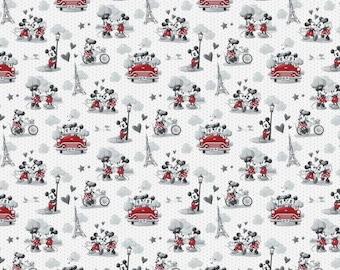 Mickey Mouse Fabric, Minnie, Paris, Fabric, Vintage Scenes of Romance, Disney, Fabric by the Yard, Eiffel Tower, TheFabricEdge