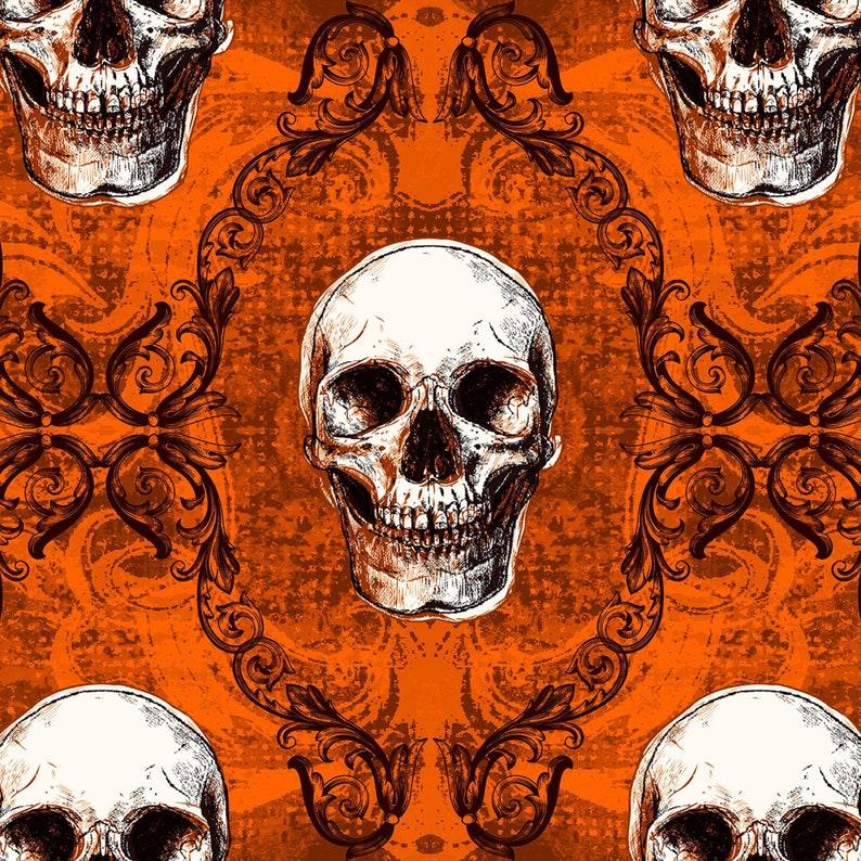 Skull Fabric Moda Halloween By The Yard Danger Damask Black TheFabricEdge