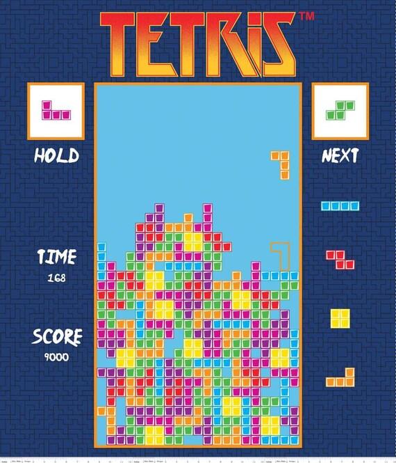 Tetris Fabric Panel Video Game Fabric Gamer Fabric 36 Inch Etsy