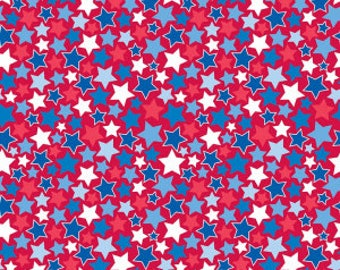 Patriotic Fabric, Fourth of July Fabric, Patriotic Picnic Stars, Red, Riley Blake, By the Yard, Star Spangle, TheFabricEdge