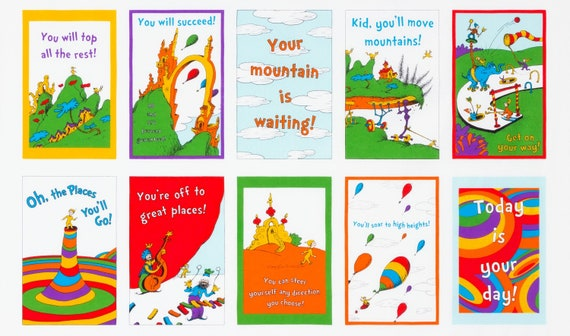 Kaufman Dr Seuss 10796 3 Cat in the Hat Titles on Red  Cotton Fabric BTY