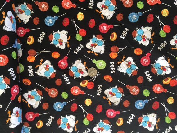 Riley Blake Tootsie Roll Fabric By the Yard TheFabricEdge Tootsie Roll Pops Tootsie Owl Fabric Candy Fabric
