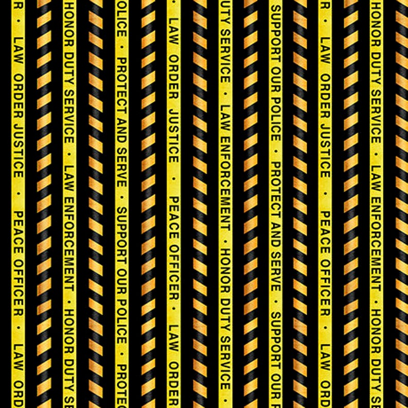 First Responders Police Fabric TheFabricEdge Police Tape Fabric By The Yard Quilting Treasures Protect and Serve Black