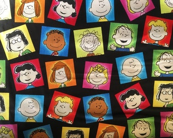 Charlie Brown Fabric, Hap is Peanuts, Character Patches, By The Yard, Black TheFabricEdge
