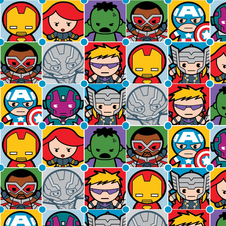 Marvel Fabric Kawaii Tiles Captain America Hulk Iron Man Vision Black Widow Hawkeye Thor Falcon Fabric Bty Thefabricedge