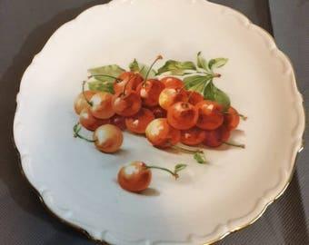 "Vintage Bavaria Schuman Arzberg Germany Salad / Dessert Plate Cherry Cherries 7 3/8"" Diameter"