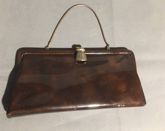 Vintage Ande Women s Handbag Purse Top Handle Brown Patent Leather Clasp  Closure Brown   Gold Lining approx 11