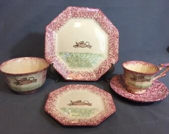 Vintage Molly Dallas Spatterware Pink Bunny Set Dinner Plate, Dessert Plate, Bowl, Tea Cup & Saucer