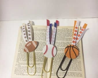 Sports paperclips, large paperclip bookmarks, football/basketball/baseball bookmark, book mark for a boy