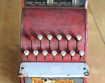 Vintage 1950's Children's Cash Register Toy - Antique Tom Thumb Toy Cash Register