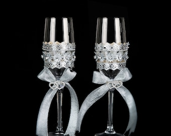 crystal champagne glasses champagne flute ribbon & Swarovski crystal toasting glasses - Wedding Gift idea