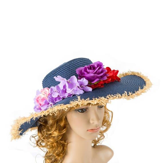 Blue Summer Wedding Hat Kentucky Derby Hat Beach Hat Wedding  5e0c70a3ff18