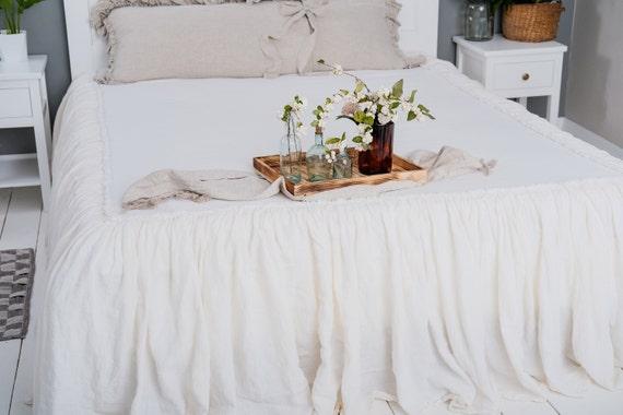 Leinen Bettdecke ausgefranst Rand Shabby Chic Dekor Rüschen König Königin  benutzerdefinierte Größen