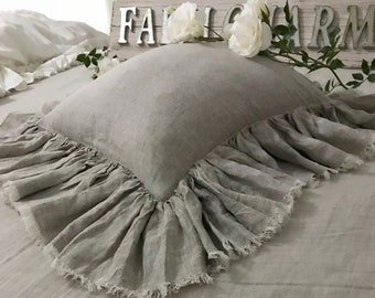 Rustic With Super Dense Ruffles FarmCharm 100% Linen Frayed Ruffle Pillow Cover Farmhouse Shabby Chic