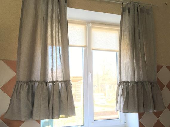 Linen kitchen curtains set Ruffle farmhouse curtains Linen cafe curtain  Shabby chic curtains