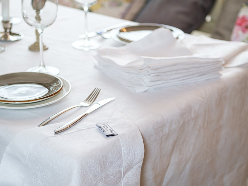WeddingHome Decor Natural Organic Organic Table Cloth and Napkin Set Plaid Table Set Gift Idea 100/% Linen