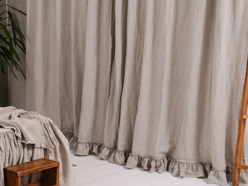 Etonnant Linen Ruffled Curtains For Home Shabby Chic Curtain Panels Rustic Farmhouse  Bedroom Curtains