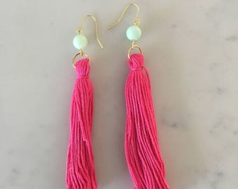 Hot Pink Long Fringe with Blue Bead