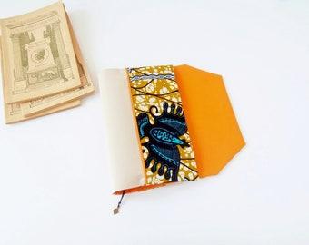 Protects-pocketbook adjustable fabric with bookmark (African fabric / jaune_bleu_orange)