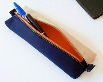 Pencil case / pouch for pens (fabric Japanese uni indigo_tissu clair_orange beige)