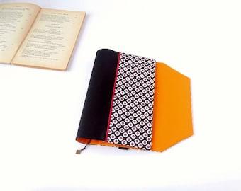 Adjustable pocketbook adjustable fabric with bookmark (graphic pattern fabric / noir_orange)
