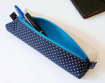 Pencil case / pouch for pens (polka dot / blue marine_blanc_bleu)