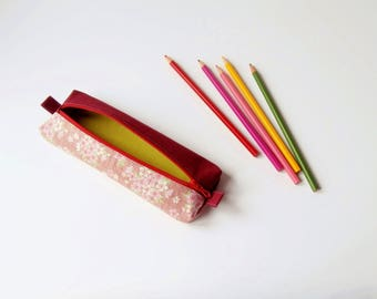 Pencil case / pouch for pens (Japanese/rose_rouge_vert fabric)